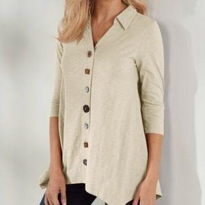 Soft Surroundings Danielle Button Sweater Top